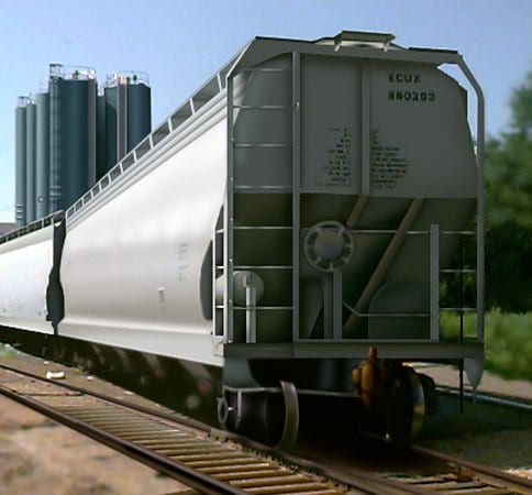 Loading hopper railcar with grain