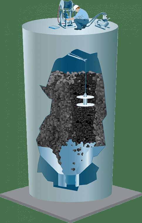 Dual Impact Binwhip Silo Bin Cleaning Cutaway